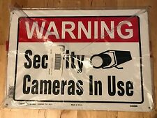 """Warning Security Cameras In Use Metal Sign Video 10x14"""" Hillman 843296"""