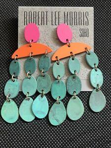 Robert Lee Morris Soho Patina Disc Chandelier Statement Earrings MultiColor NWT