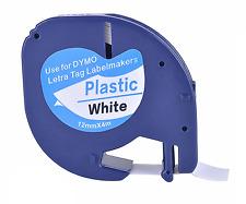Compatible Dymo Letratag Black on White Plastic Labels 12 mm x 4 m Tape (91201)