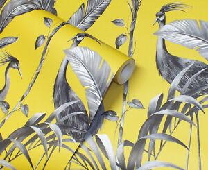 Mustard Yellow, Modern Tropical Theme, Birds & Leaves Wallpaper