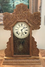 Antique,Early 1900 Ansonia/E. Ingraham Wood Kitchen Gingerbread Eight Day Clock