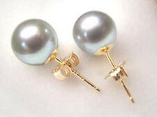 Beautiful Seashell Grey Shell Pearl 10 mm Gold Filled Stud Earring