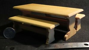 Trestle Table 2 Bench Seats Kitchen Dining Castle 1:12 Doll Miniature CL10567