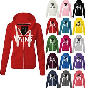 Women Ladies VANS Zipped hoodie Sweatshirt Top Jumper Jacket Hoody