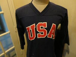 Vtg 70's 80's Blue Medallion USA Olympics Baseball 50-50 Jersey Fit Adult S Rare