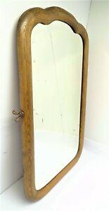 Oak Wood Beveled Glass Vanity Dresser Mirror Curved Frame Decorative Used Old