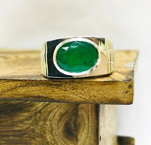 Natural Green Onyx Gemstone with 925 Sterling Silver Ring for Men's EG1416