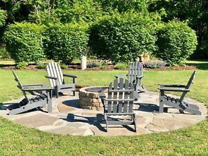 Polywood Classic Recycled Plastic Wood Patio Folding Adirondack Chair-Slate Grey