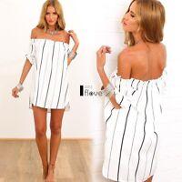Summer Women Boho Striped Off-Shoulder Casual Loose Party Mini Dress Beach ILOE