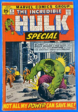 The Incredible Hulk Special #4 Marvel Comic Book Avengers Jan 1972. VF+ (6.5)
