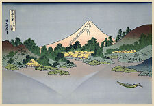Japanese Art Print: Reflections of Fuji in Lake Misaka - Fine Art Reproduction