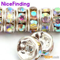 Clear AB Rhinestones Czech Crystal Silver Rondelle Spacer Beads 100 Pcs 6mm