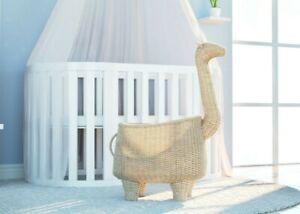 Handmade Natural Rattan Giraffe Toy Storage Basket Organiser Bedroom Decor