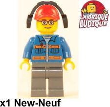 Lego Figura Minifig City Construcción Trabajador Worker Azul Casco Gafas Nuevo