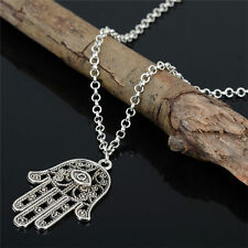 Boho Charming Hamsa Of God Fatima Evil Eye Hand Tibetan Silver Chain Necklace