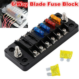 6-Way Blade Fuse Box Holder Electric Terminal Block for Car RV Trailer Boat 12V