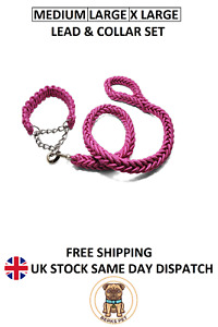 Nylon Braided Traction Rope Lead Collar Set Martingale Chain Collars Leads Pink