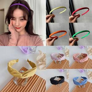 Women Solid Color Headband Cross Knot Satin Hair Hoops Narrow Hairband Barrettes