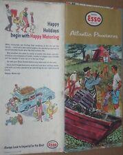 Vintage 1961 Esso Canada Travel Brochure Map - Atlantic Provinces