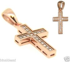 Cz Set Cross Pendant Charm X'Mas Gift 925 Sterling Silver Rose Gold Plated Micro