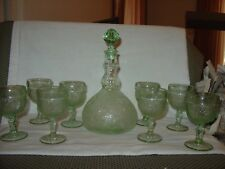 Vtg. Tiera Chantilly Decanter With 8 Glasses