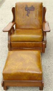 1970s Brandt Ranch Oak Style Wagon Wheel Chair & Ottoman Original Upholstery