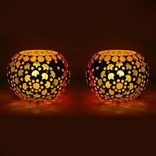 Beads And Crystal Decorated Mosaic Candle Holder/Candle Light-Set Of 2