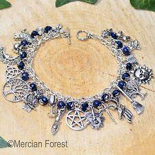 Pagan Ways Charm Bracelet - Lapis Lazuli and Crystal - Wicca, Witch Jewellery
