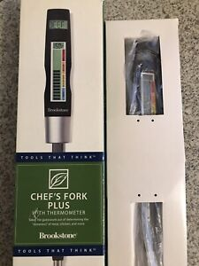 Stainless Steel Chefs Fork Plus w/ Digital Thermometer, Meat Indicator, & Light