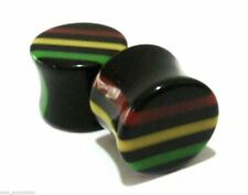 "PAIR-Rasta Acrylic Double Flare Plugs 14mm/9/16"" Gauge Body Jewelry"