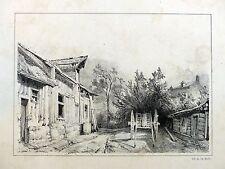 Lithographie EUGÈNE CICÉRI - Cour de ferme - Charles Motte