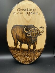 Uganda Novelty Shield Man Cave Hand carved Wood Sign