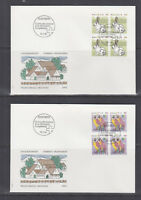 Switzerland Mi 1436/1460, 1991 issues, 8 sets in blocks of 4 on 14 cacheted FDCs