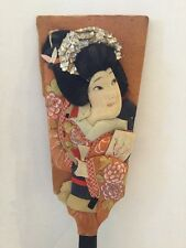 ANTIQUE JAPANESE HAGOITA BATTLEDORE KIMONO GIRL PADDLE A