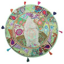 Ethnic Vintage Round Patchwork Floor Cushion Cover Couch Embroidered Cotton 28""