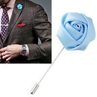 Lapel Flower Sky Blue Boutonniere Stick Brooch Pin Men's Shirt Suit Tie Womens