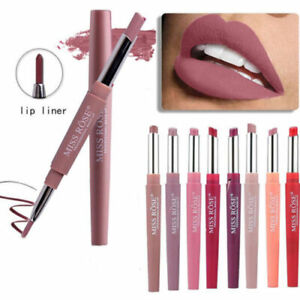Double Head Matte Lipstick Lip Liner Pencil Pen Waterproof Lips Makeup Miss Rose
