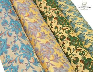 """Shimmer Brocade Jacquard Fabric, Traditional Rose Vines Leaves Swirl 45"""" Sparkle"""