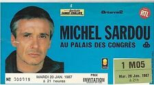 MICHEL SARDOU vintage used ticket concert 20 janv 87 palais d congres INVITATION
