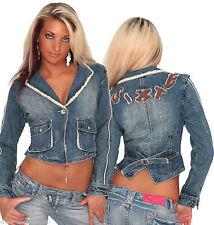 Bauchfreie Damen-Jeansjacken aus Baumwolle