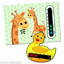 Baby Safe Ideas Giraffe Twins Nursery Room Thermometer and Duck Bath Thermometer