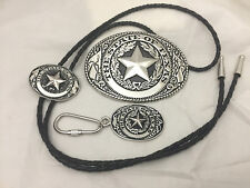 Texas Seal Gift Set (Belt Buckle, Bolo and Key Ring) Silvertone