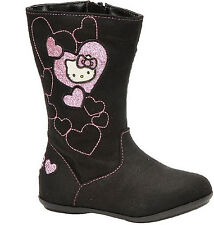 New Hello Kitty Lil Sophia Black Toddler Girls Fabric Mid-Calf Boots Size 6/7