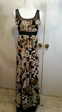 Studio Y size 1 sleeveless floor length brown multi color Dress New With Tags