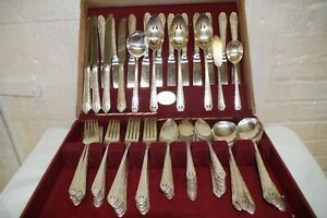 Holmes & Edwards Inlaid IS Lovely Lady Silverplate 98 PC Flatware & Wood Box