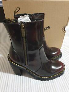 Womens Orginal Dr Martens Magdalena II Arcadia Cherry Red Block Heel Boots UK 4