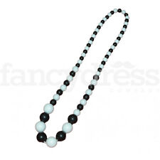 White Cruella Fancy Dress Accessory Long Spanish Flamenco Bead Necklace Black