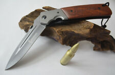 New BROWNING Sharp Stainless Steel Folding Pocket Knife Dagger with Wood Handle