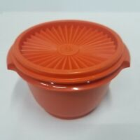 Vintage Harvest Orange Servalier Tupperware Container Round With Lid 686-26