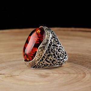 Handmade pure 925 SILVER ring Large Amber stone Men all sizes jewellery RRP £60